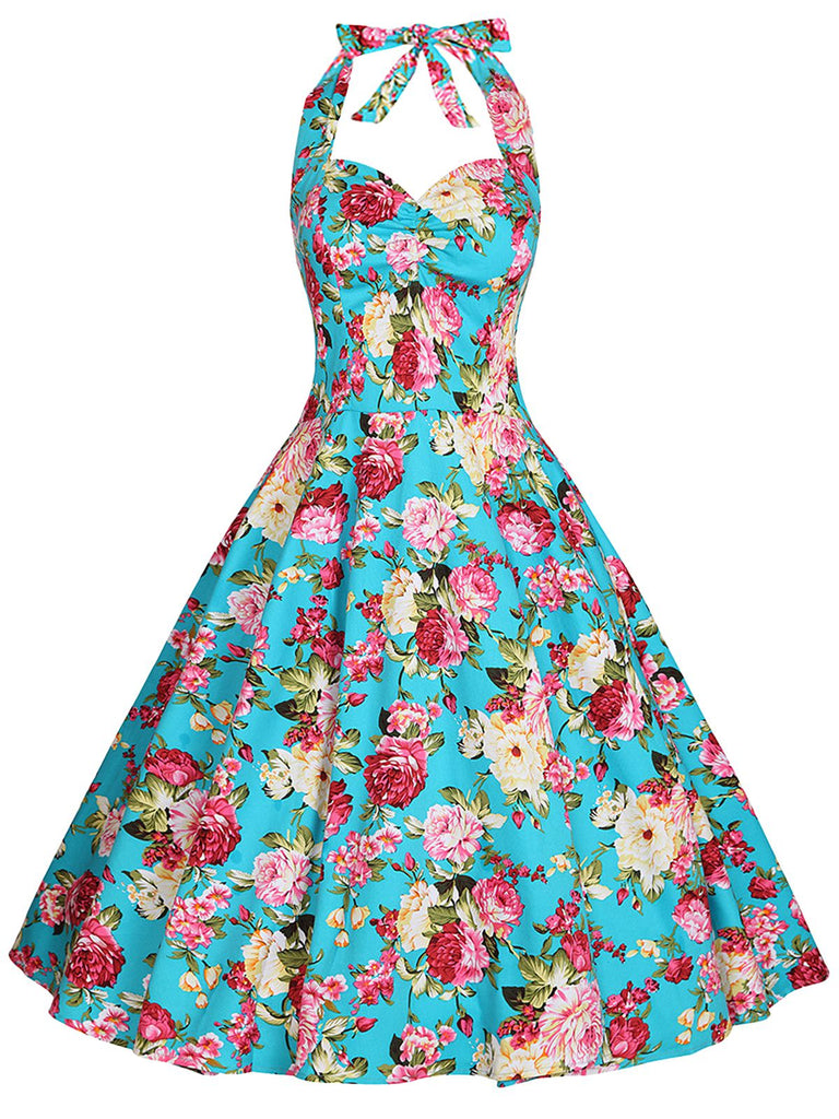 1950s Floral Halter Swing Dress