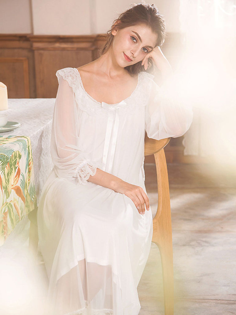 Retro Lace Mesh Peasant Sleeve Nightgown