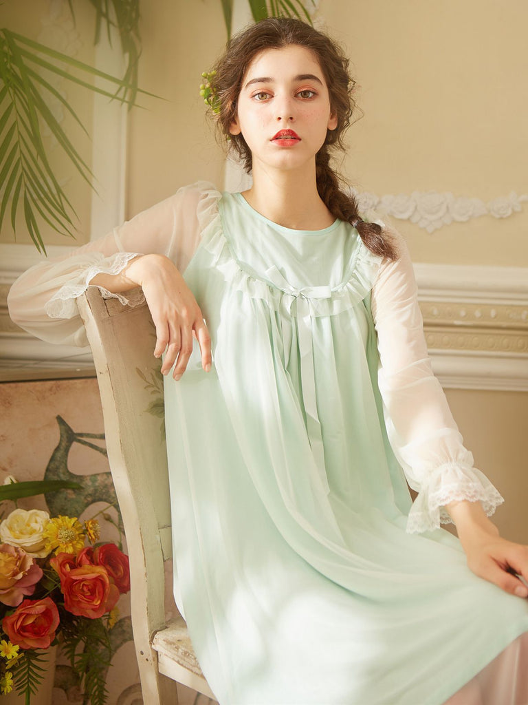 Retro Lace Bow Ruffle Mesh Nightgown