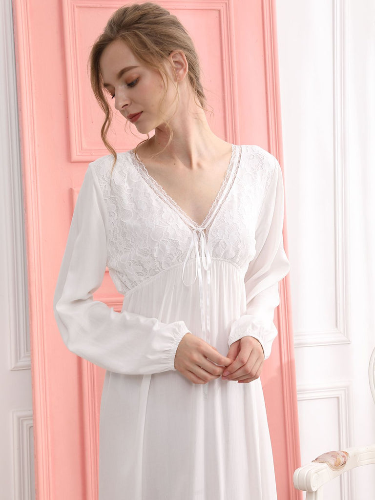 Retro Lace Bow Backless Nightgown