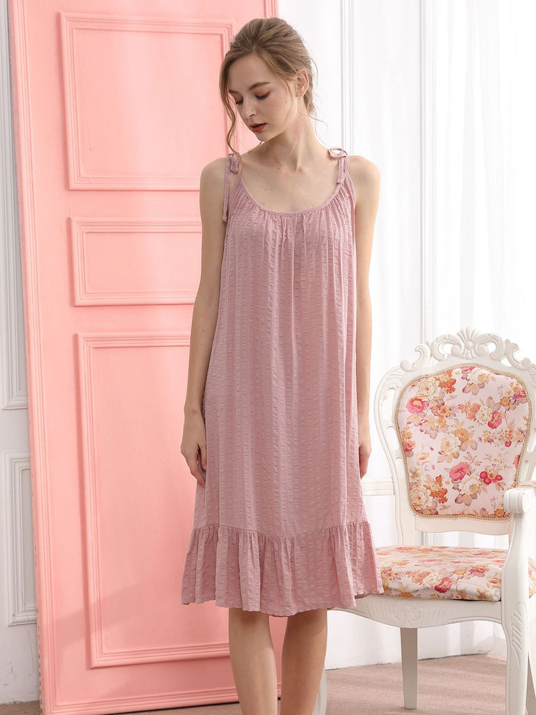 Retro Lace Up Ruffle Tail Nightgown