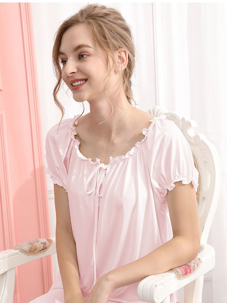 Retro Lace Bow Puff Sleeve Nightgown