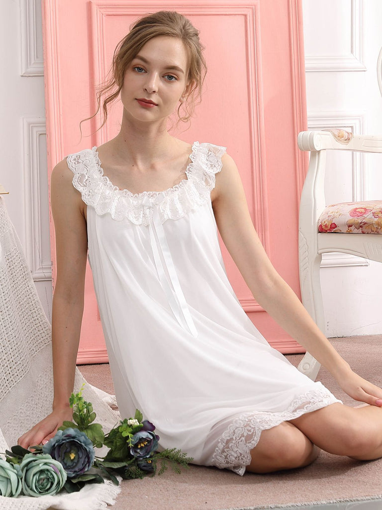 Retro Ruffle Lace Bow Nightgown