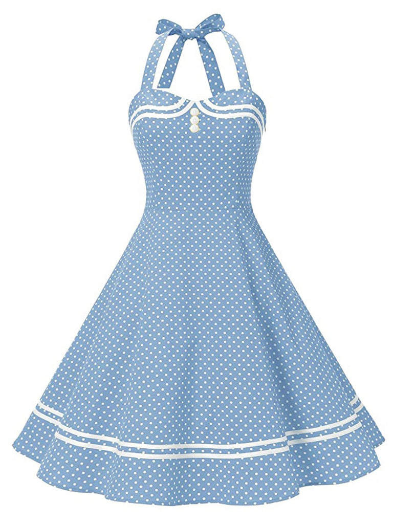 Blue 1950s Polka Dot Halter Swing Dress
