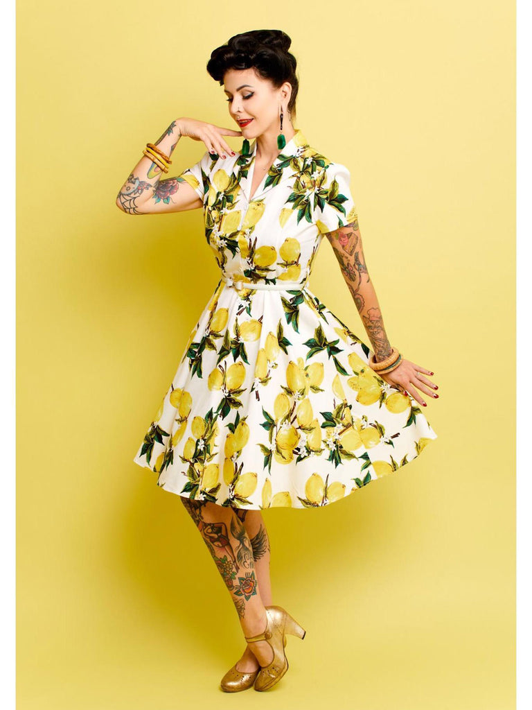 Yellow 1950s Lemon Bow Swing Dress