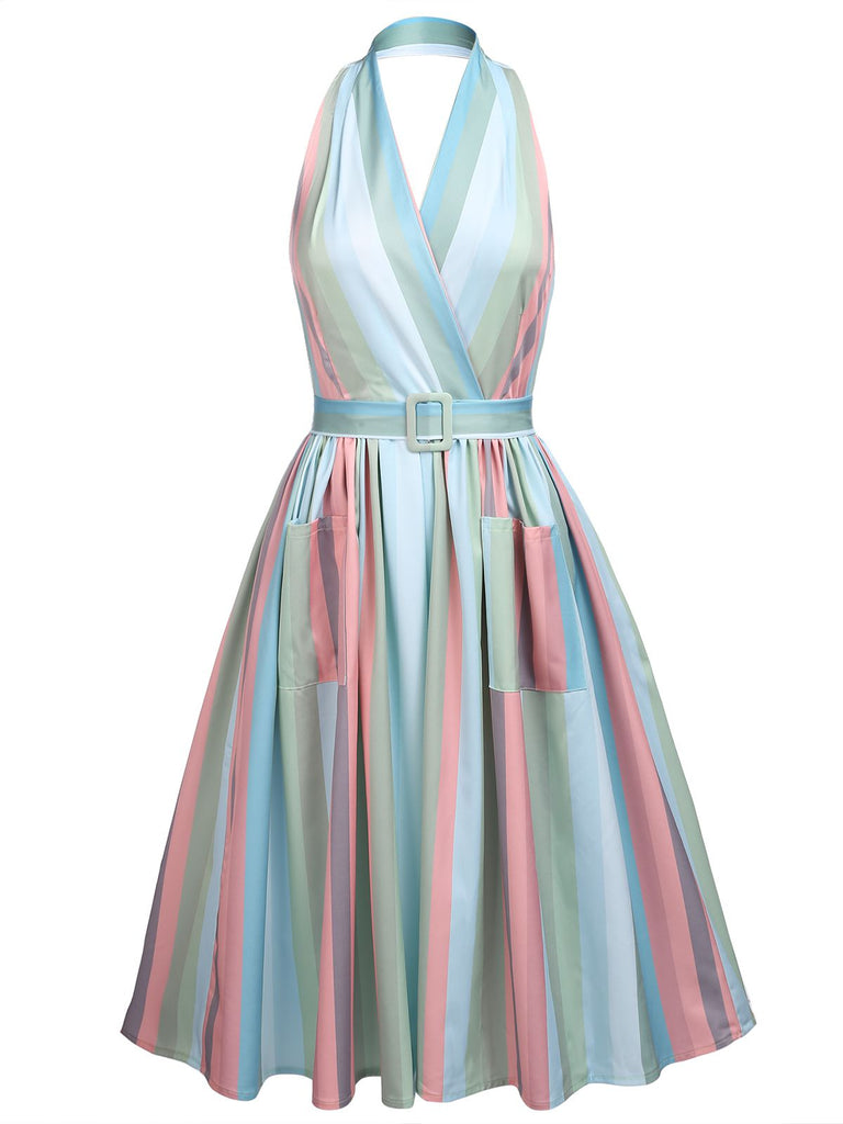 Rainbow 1950s Stripe Pocket Swing Dress