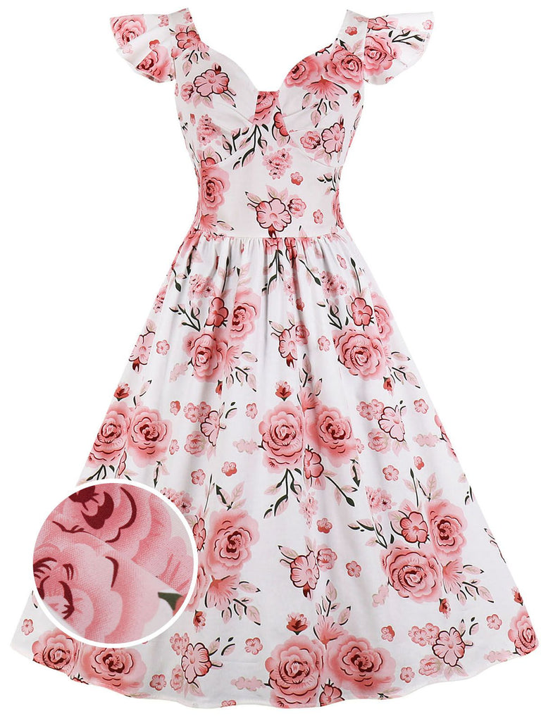 1950s Floral Flare Sleeve Swing Dress