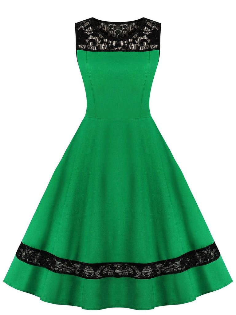 Green 1950s Lace Illusion Swing Dress