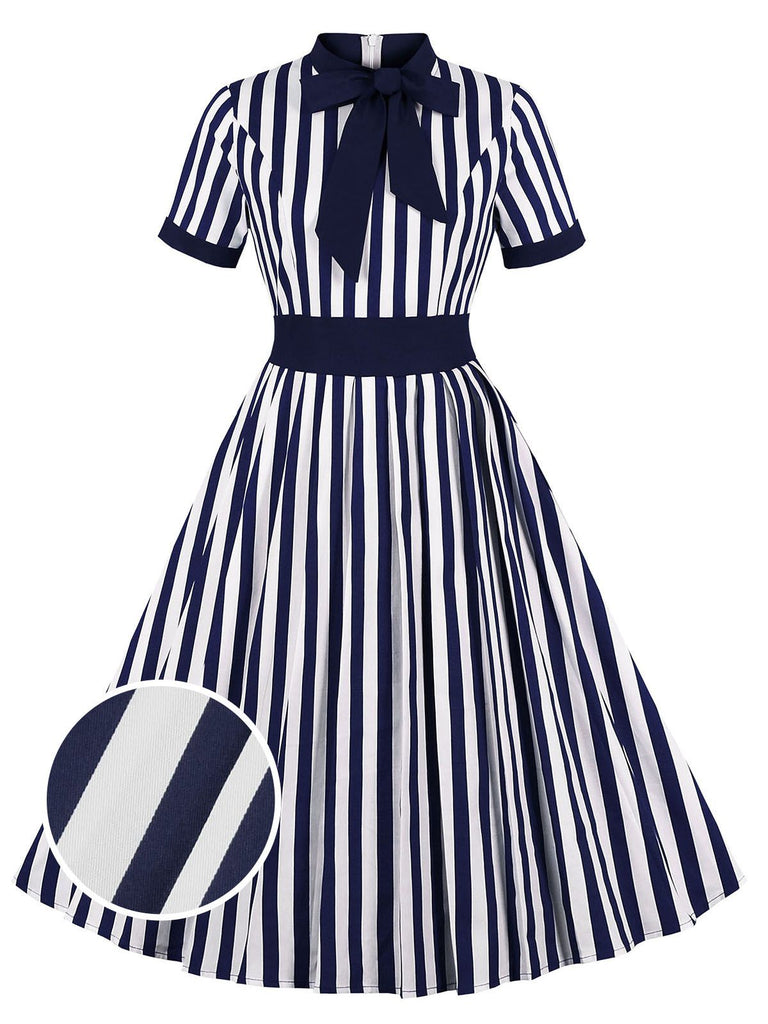1950s Stripes Bow Swing Dress
