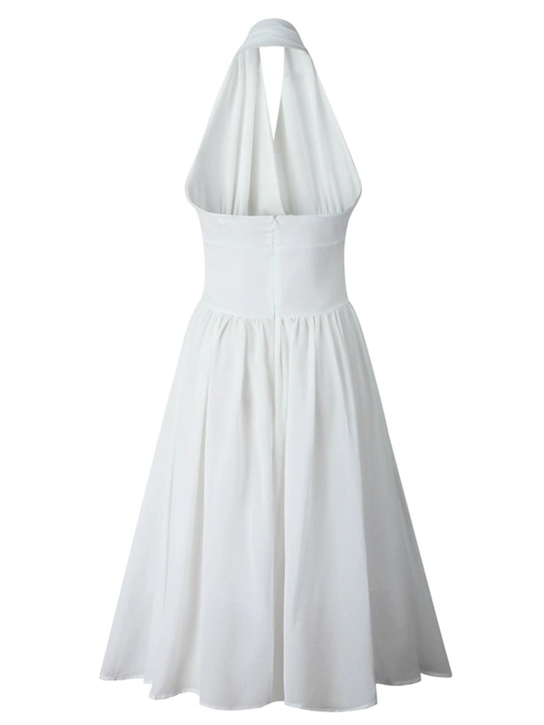White 1950s Solid Halter Swing Dress