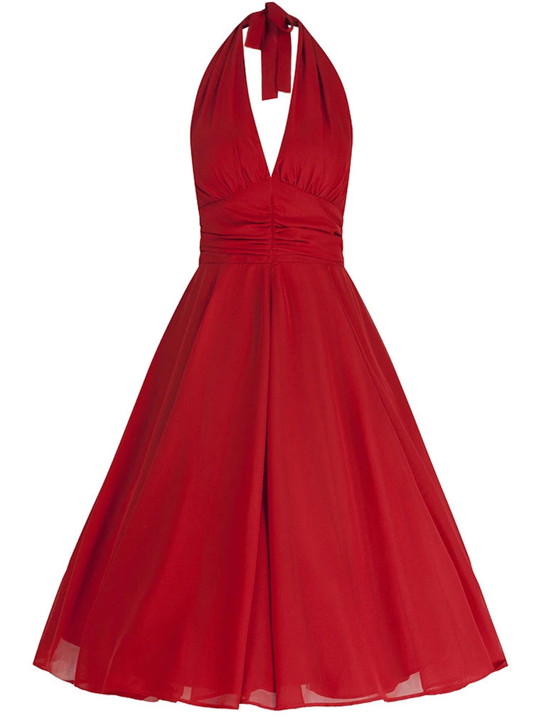 1950s Solid Halter Swing Dress