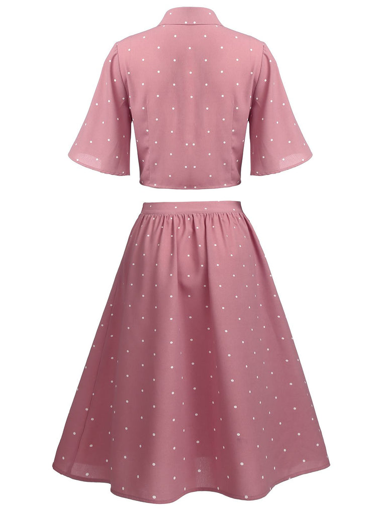 2PCS Pink 1950s Polka Dot Top & Skirt
