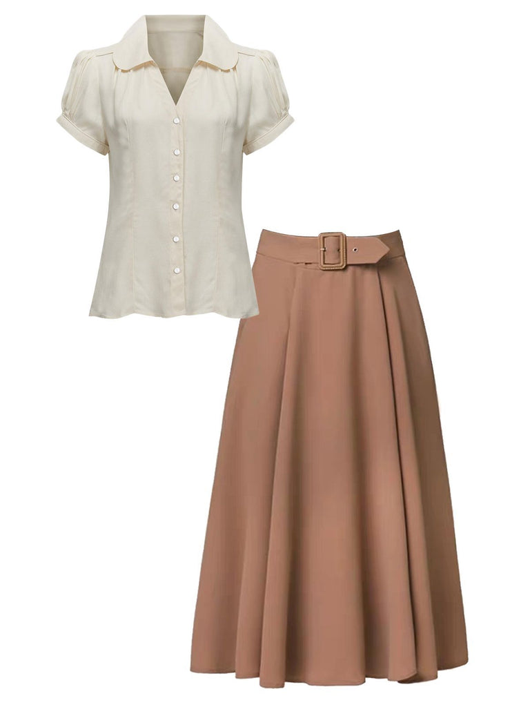 2PCS Khaki 1950s Solid Blouse & Skirt