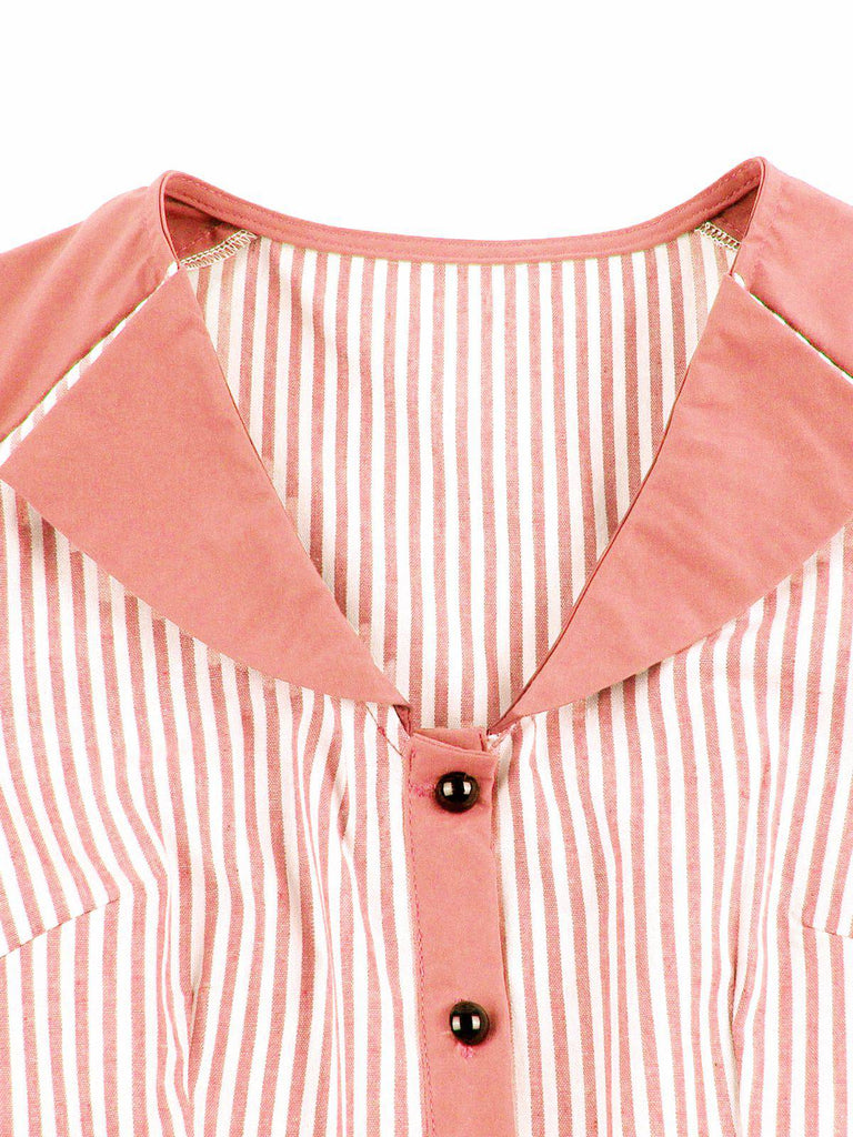 1950s Stripes Button Swing Dress