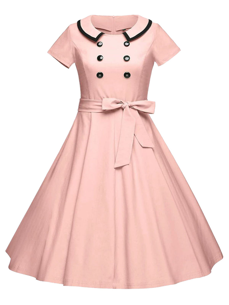 Plus Size Pink 1950s Button Swing Dress