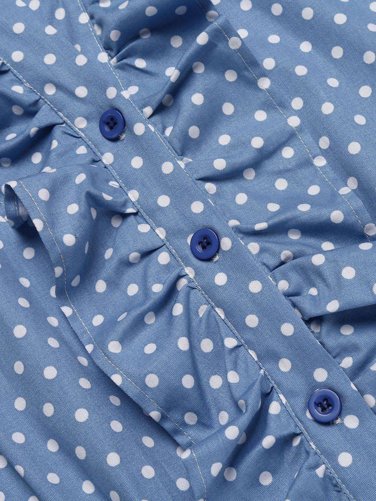 Blue 1950s Ruffle Dot Swing Dress
