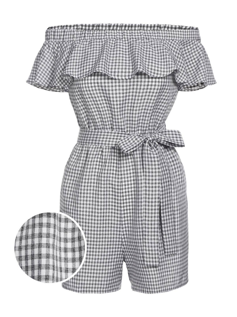 Plaid 1950s Ruffle Off Shoulder Romper