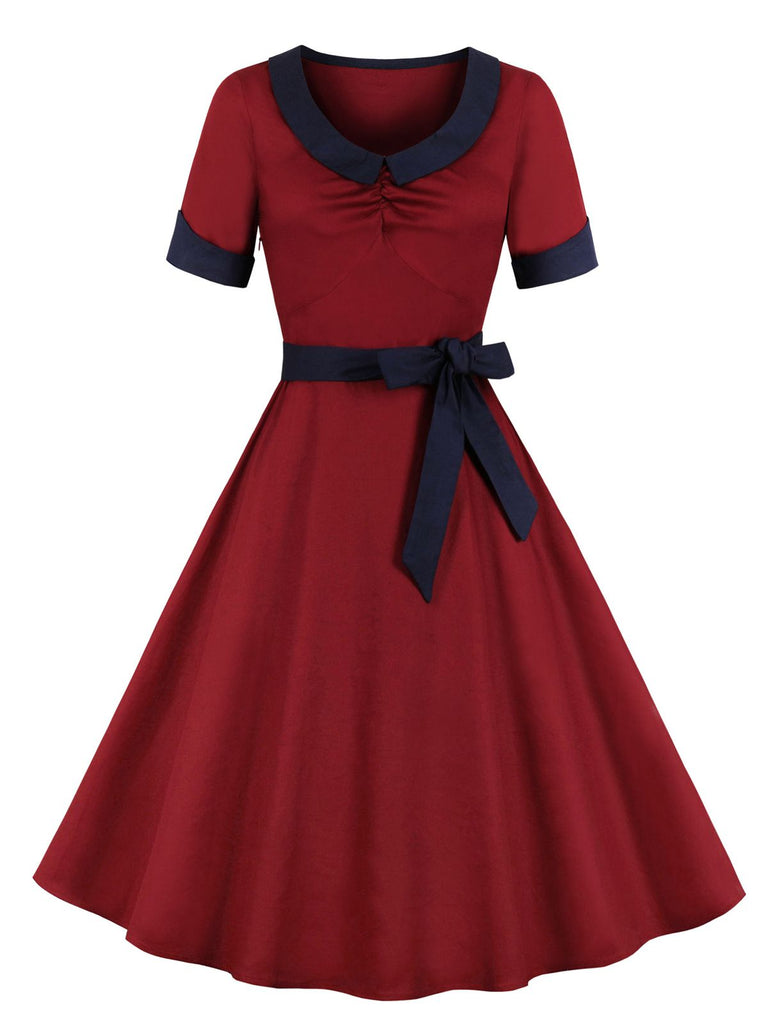 1950s Solid Pleated Swing Dress