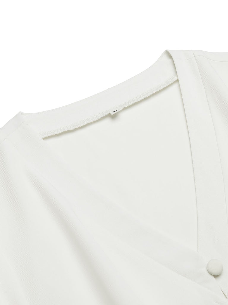 White Pleated Button Blouse Top