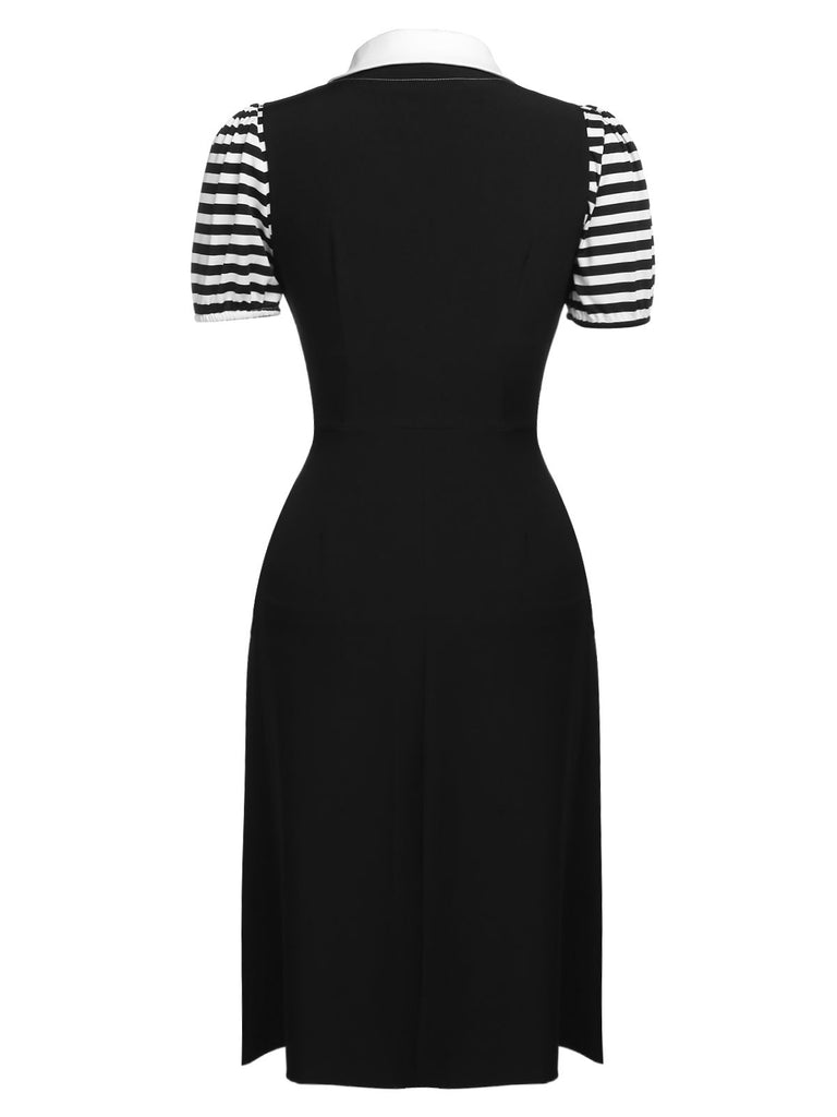 2PCS 1950s Stripes Top & Black Dress