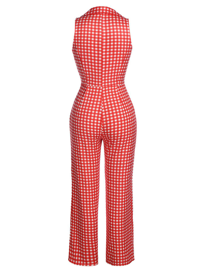 Red 1950s Plaid Button Jumpsuit