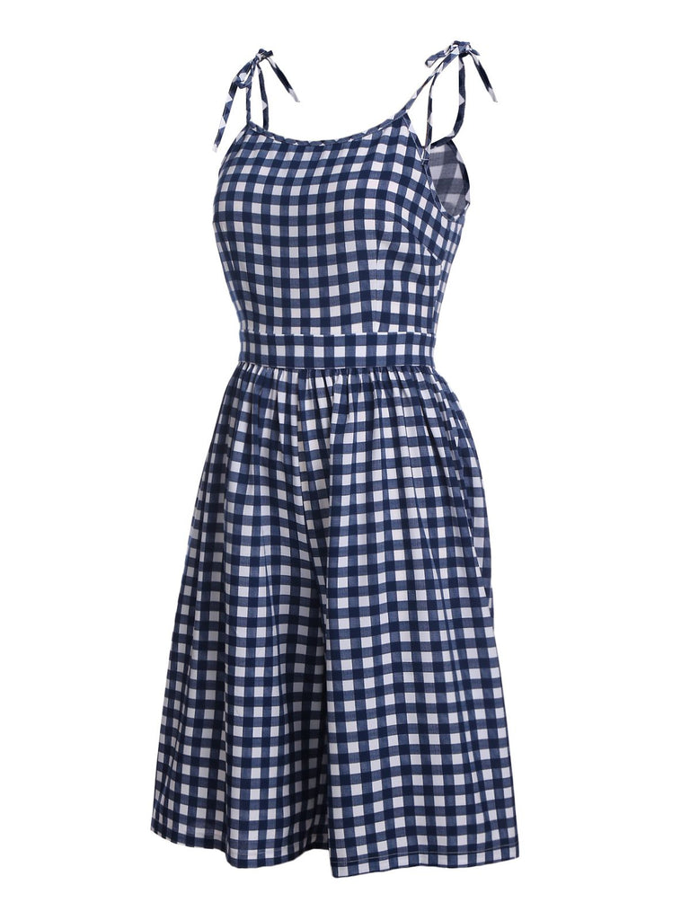 1950s Plaid Lace-Up Strap Romper