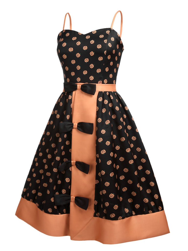 Black 1950s Pumpkins Romper & Skirt