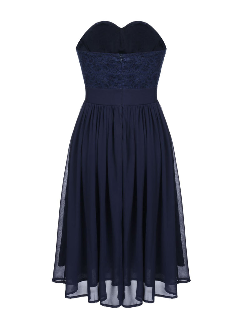 Navy 1950s Lace Strapless Swing Dress