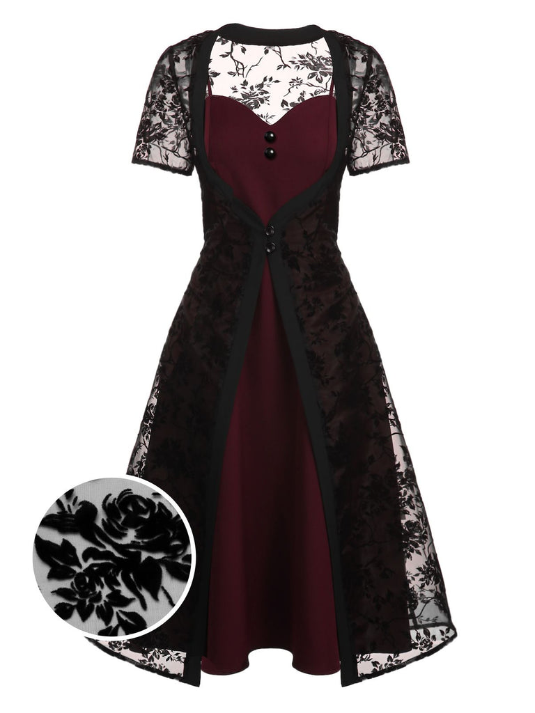 2PCS Wine Red 1950s Lace Swing Dress