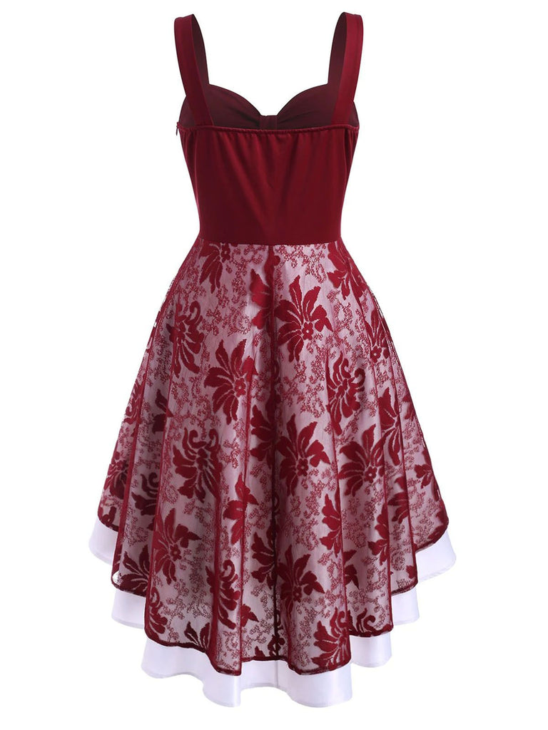 Wine Red 1950s Bow Hi-Lo Swing Dress