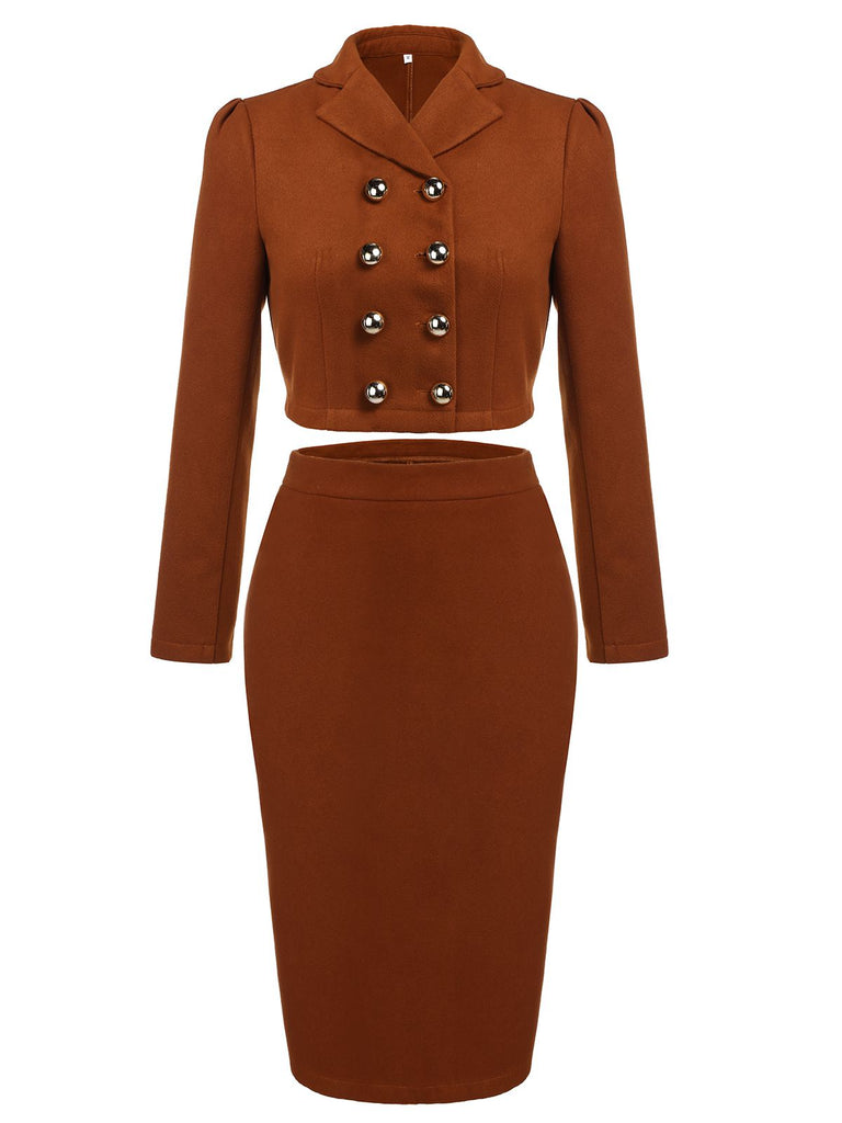 [Pre-Sale]2PCS Brown 1960s Button Top & Pencil Skirt
