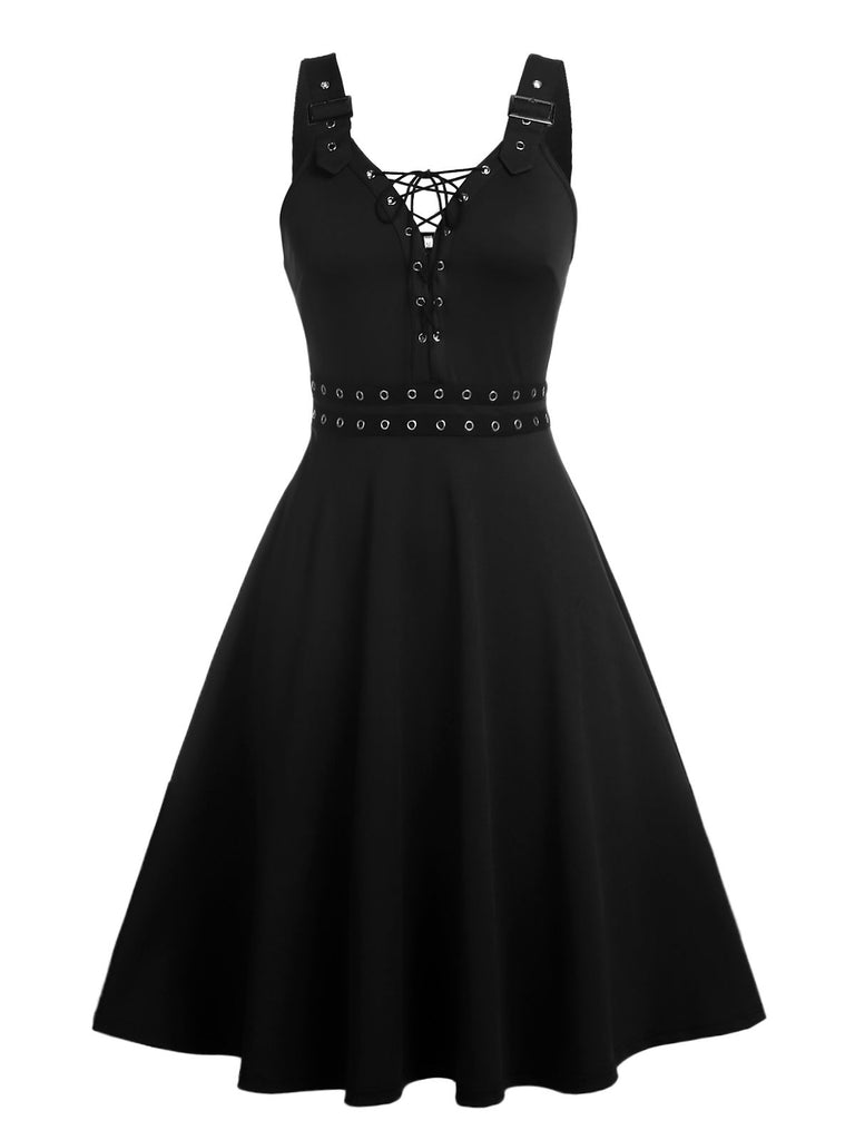 Black 1950s Lace-Up Punk Swing Dress