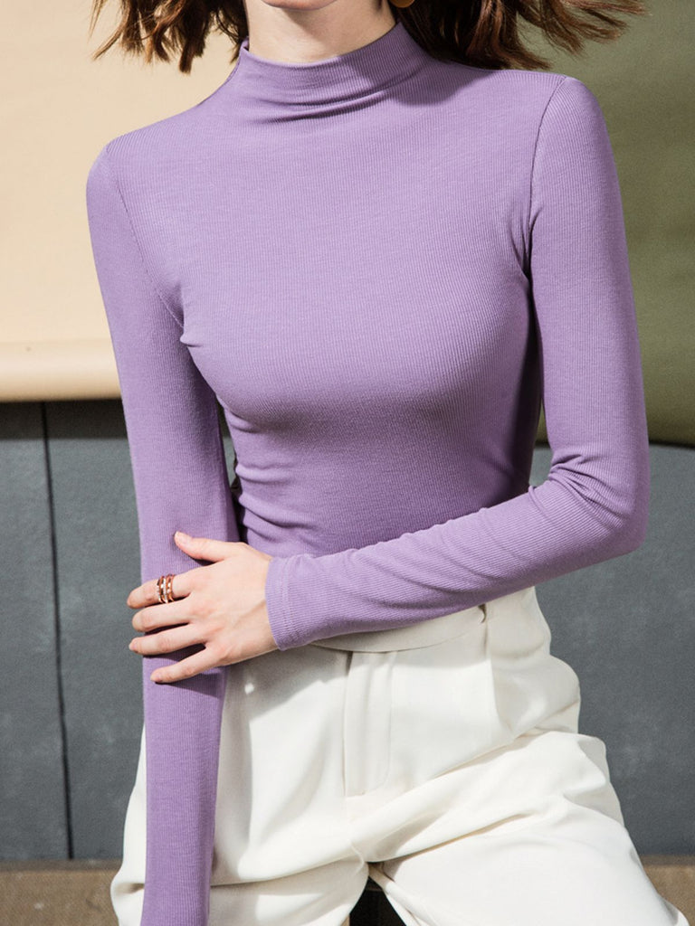 Retro Turtleneck Solid Knitted Top