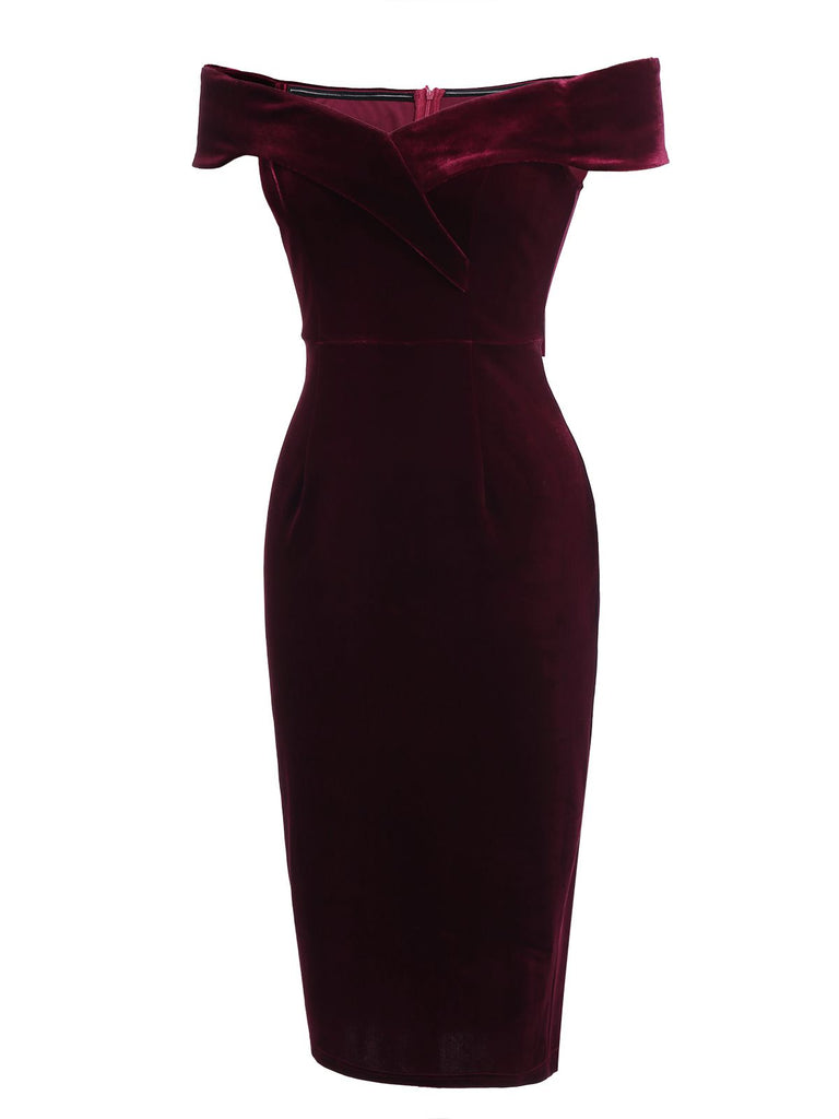 Wine Red 1960s Velvet Bodycon Dress
