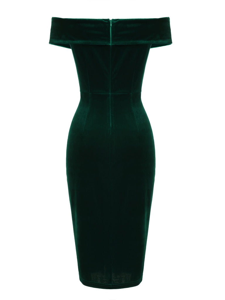 1960s Off Shoulder Velvet Bodycon Dress
