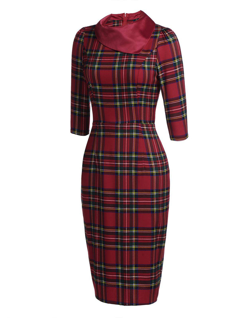 Red 1960s Plaids Bodycon Dress