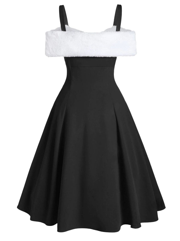 1950s Bow Cold Shoulder Swing Dress