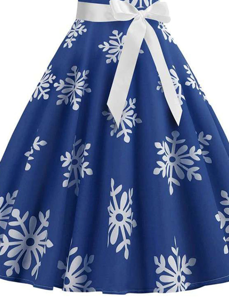 Blue 1950s Snowflake Bow Swing Dress