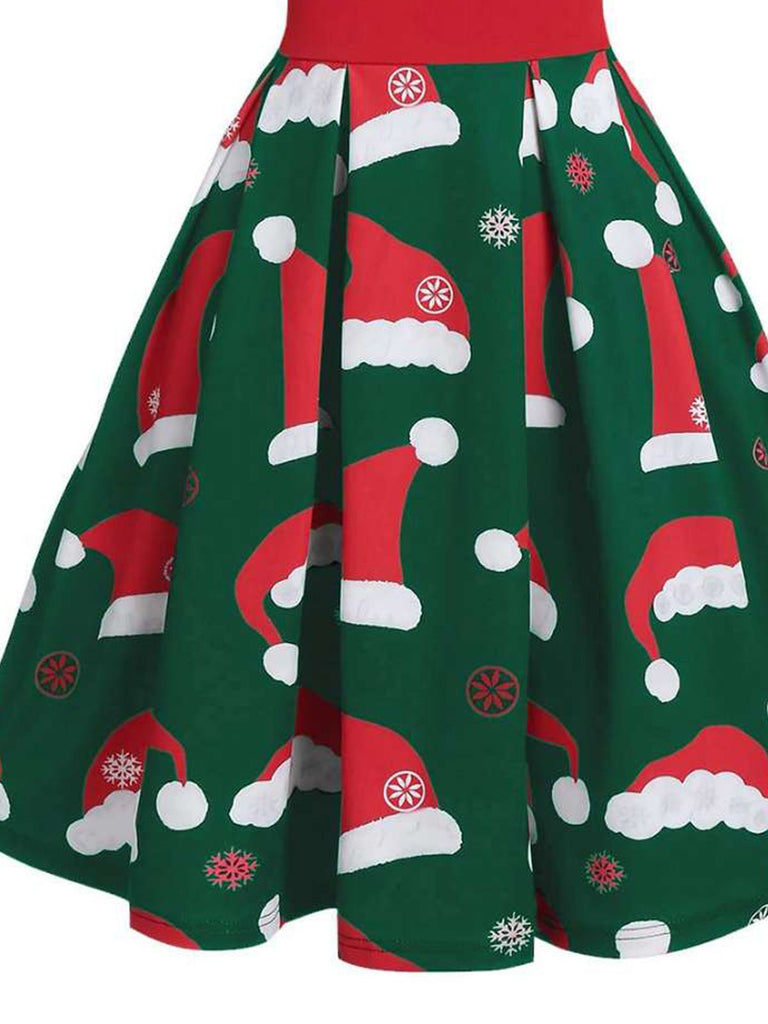 Green 1950s Christmas Hat Swing Dress