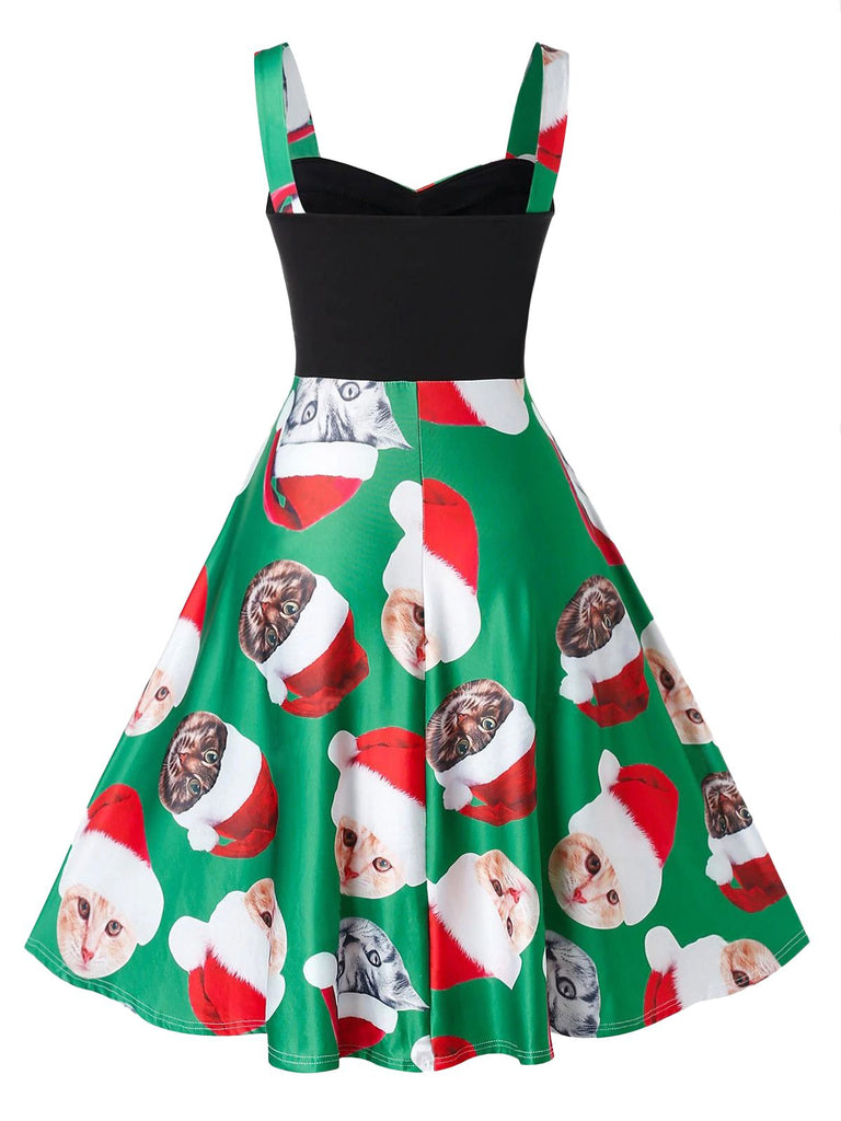 Green 1950s Christmas Cat Swing Dress