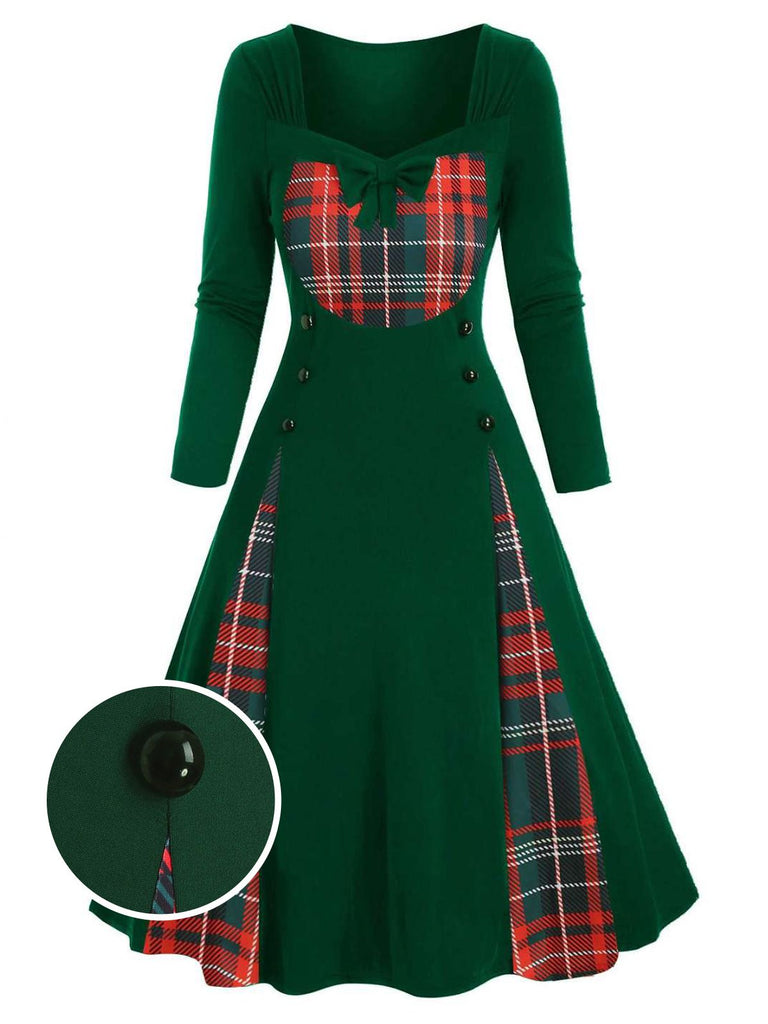 Green 1950s Patchwork Plaid Swing Dress