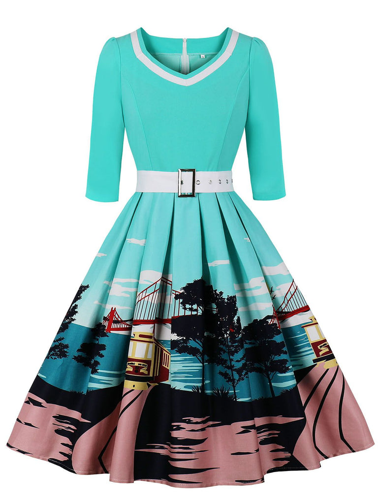 1950s Patchwork Belt Swing Dress