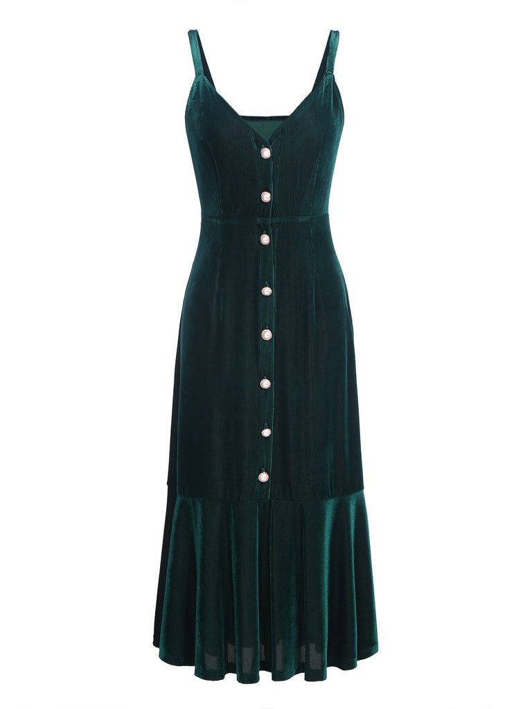 [Pre-Sale]Dark Green 1960s Velvet Bodycon Dress