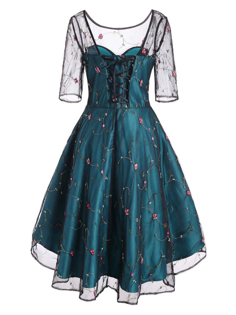 Blue 1950s Lace Hi-Lo Swing Dress