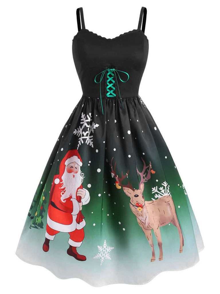 1950s Christmas Strap Swing Dress