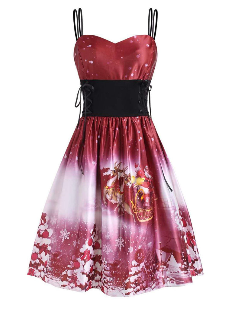 Wine Red 1950s Christmas Swing Dress
