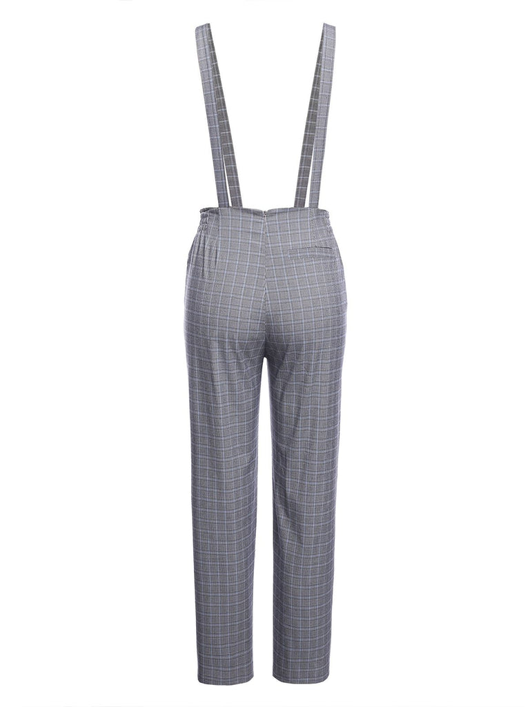 Gray 1950s Plaids Suspender Pants