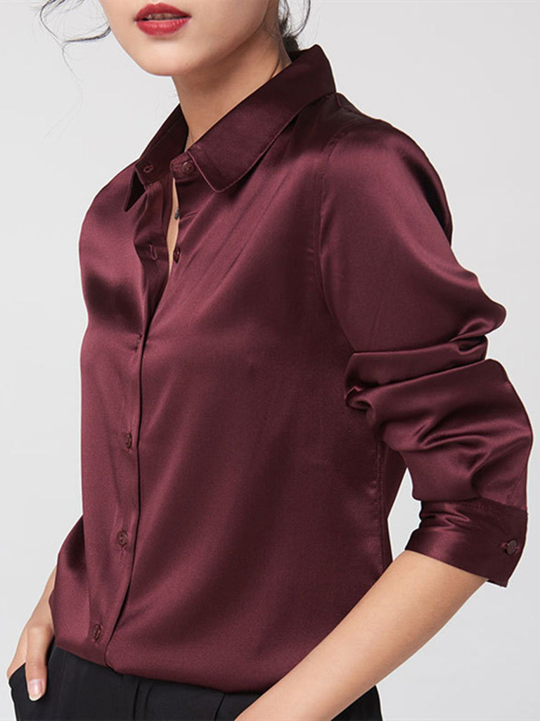 Basic Solid Silk Work Blouse