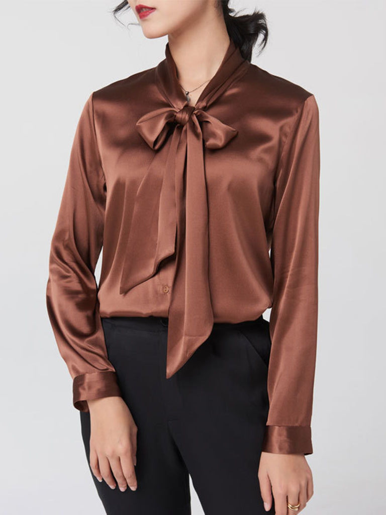 Solid Bow-Tie Silk Work Blouse