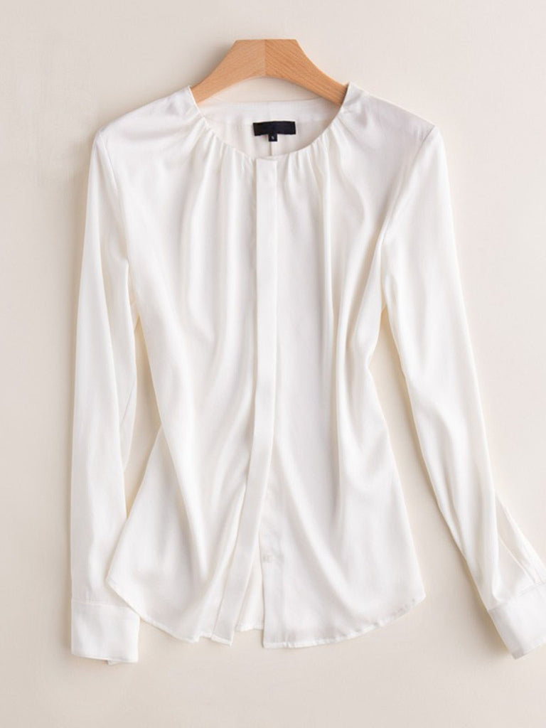 Basic Concealed Placket Silk Blouse